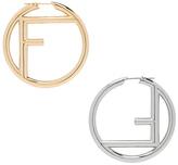 Fendi Logo Hoop Earrings in Metallics.