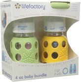 Lifefactory BPA-Free Glass Baby Bottle Gift Set with Two 4-Ounce Glass Bottles and Silicone Teether, Green & Yellow by Lifefactory