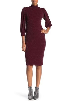 Superfoxx Mock Neck 3/4 Sleeve Midi Dress