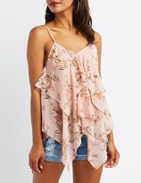 Charlotte Russe Floral Handkerchief Tank Top