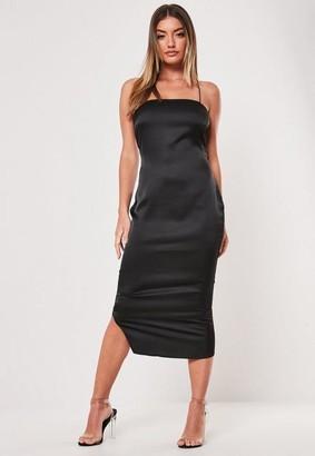 Missguided Tall Black Cross Strap Satin Slip Dress