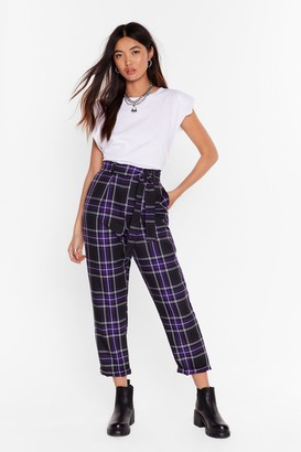 Nasty Gal Womens Always Checking You Out High-Waisted Tapered Trousers - Purple - 10