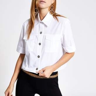 River Island Womens White cropped utility shirt