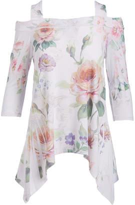 Lee Casa Women's Tunics cream/green - Cream & Green Floral Cold Shoulder Sidetail Tunic - Women