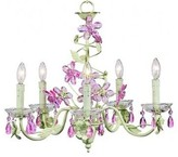 The Well Appointed House Pink and Green Crystal Flower Five Arm Chandelier
