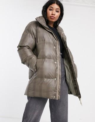 Rains waterproof check puffer coat with detachable belt-Beige