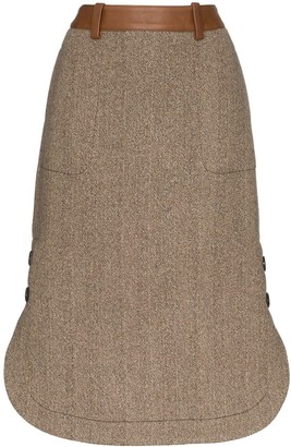 Wales Bonner Contrast-Belt Midi Skirt