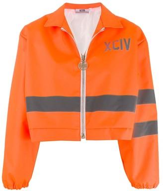 GCDS cropped reflective panel jacket