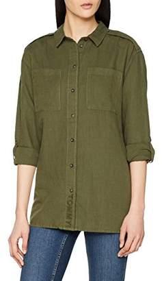 Tommy Jeans Women's Linen Blend Friend Shirt Long Sleeve T-Shirt,Medium