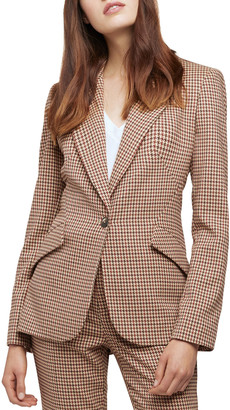 L'Agence Chamberlain Houndstooth Single-Button Blazer