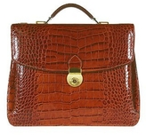 L.a.p.a. Cognac Croco-embossed Double Gusset Briefcase