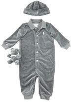 Ralph Lauren Velour Three-Piece Coverall Set, Size 3-9 Months
