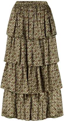 Phoebe Grace Charlie Frill Tiered Midaxi Skirt in Basket Weave Print