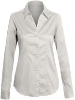 Hot From Hollywood Women's Classic Collar Button Down Single Pocket Long Sleeve Fitted Shirt