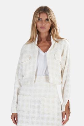 Cotton Citizen Blue&Cream Cropped Tweed Jacket