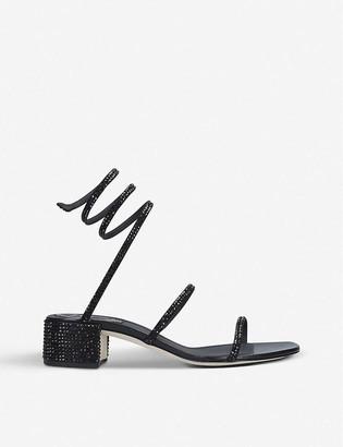 Rene Caovilla Twirl crystal-embellished satin heeled sandals