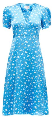 HVN Paula Zodiac-print Silk-satin Midi Dress - Blue Print