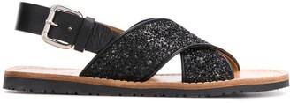 Car Shoe Glittery Slingback Flat Sandals
