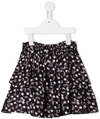 Bonpoint TEEN cherry-print ruffled skirt