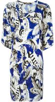 Roberto Cavalli feather print shift dress - women - Viscose - 42