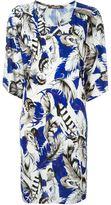 Roberto Cavalli feather print shift dress