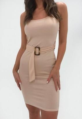 Missguided Tall Rose Rib Belted Cami Mini Dress
