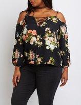 Charlotte Russe Plus Size Floral Lattice Cold Shoulder Top