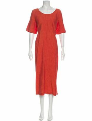 eskandar Linen Long Dress Red