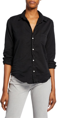 Frank And Eileen Barry Long-Sleeve Button-Down Frayed-Hem Shirt