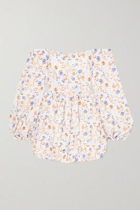 Caroline Constas Georgina Off-the-shoulder Floral-print Cotton-blend Mini Dress - White