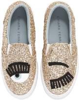 Chiara Ferragni Eye Glittered Leather Slip-On Sneakers