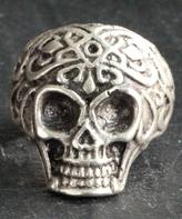 Nautilus Silvertone Filigree Skull Adjustable Ring