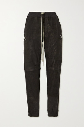 Rick Owens Stretch-leather And Cotton-blend Track Pants - Black