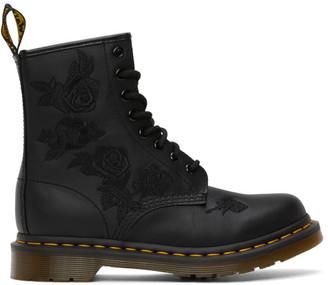 Dr. Martens Black 1460 Vonda Mono Floral Boots