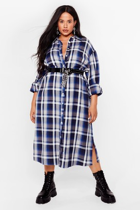 Nasty Gal Womens Background Check Plus Midi Shirt Dress - Blue