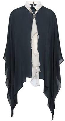 Brunello Cucinelli Tie-neck Bead-embellished Draped Silk-chiffon Blouse