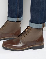 Original Penguin Lace Up Boots In Brown Leather