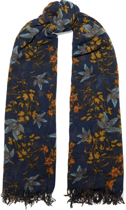 Chan Luu Fringed Floral-print Cashmere And Silk-blend Gauze Scarf