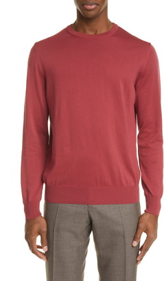 Canali Solid Cotton Crewneck Sweater