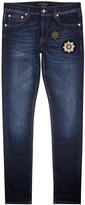Alexander Mcqueen Blue Badge-appliquéd Skinny Jeans