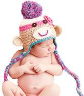 Melondipity Baby Hats Melondipity's Colorful Fun Girl's Sock Monkey Hat - Crocheted Winter Baby Hat (0-6 months)