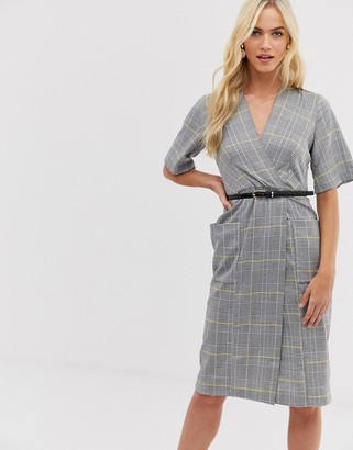 Closet London Closet check belted wrap dress