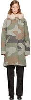 Army by Yves Salomon Green Camouflage Long Fur-Lined Parka