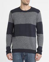 RVCA Grey and Black Channels Round-Neck Sweatshirt