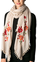 Pure Style Girlfriends Beige Floral Embroidered Pom-Pom Scarf
