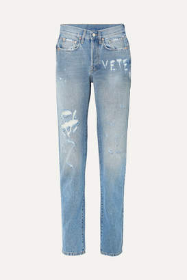 Vetements Distressed High-rise Straight-leg Jeans - Blue