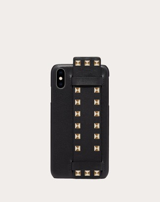 Valentino Rockstud Calfskin Phone Cover For Iphone Xs Max Women Black 100% Pelle Di Vitello - Bos Taurus OneSize