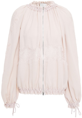 3.1 Phillip Lim Chantilly Lace-trimmed Gathered Crepe Jacket