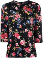 Dolce & Gabbana floral three quarter sleeve top - women - Silk/Spandex/Elastane - 44