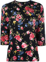 Dolce & Gabbana floral three quarter sleeve top